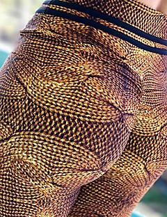 billiga Träning-, jogging- och yogakläder-Dam Sexig Yoga byxor - Kaffe sporter Tryck Elastan Cykling Tights / Leggings Dans, Löpning, Fitness Sportkläder Kompression, Butt Lift, Magkontroll Elastisk Skinny, Smal