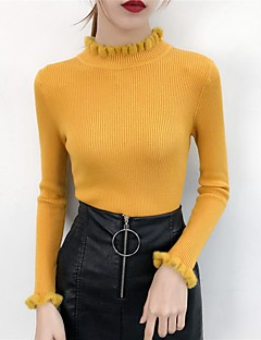 baratos Suéteres de Mulher-Mulheres Final de semana Sólido Manga Longa Skinny Curto Carregam Algodão Preto / Rosa / Amarelo Tamanho Único