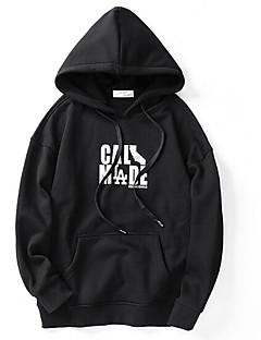 baratos Abrigos e Moletons Masculinos-hoodie de algodão de manga comprida masculina - carta com capuz