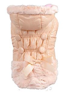 billiga Hundkläder-Hund / Katt Kappor Hundkläder Enfärgad / Enkel / Rosett Rosa Pälsimitation Kostym För husdjur Dam Håller värmen / Mode