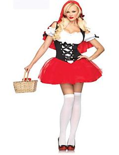 billige Halloweenkostymer-uniformer Rødhette Cosplay Kostumer Party-kostyme Kostume Fancy Costume Dame Voksen Videregående skole Cosplay Halloween Halloween Karneval Maskerade Festival / høytid Drakter Rød Lapper Sexy dame