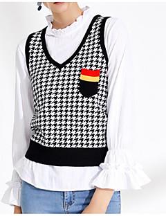 baratos Suéteres de Mulher-saia feminina de manga comprida colete fino - bloco de cor