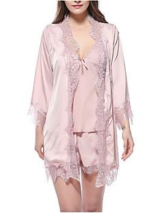 baratos Roupão & Camisola-Mulheres Assimétrico Lingerie com Renda Pijamas Sólido / Sexy