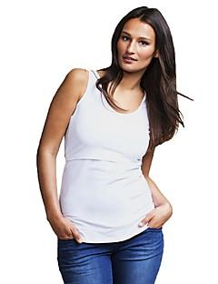 billige Tanktoppe & små toppe til kvinder-Kvinders bomulds tank top - solid farvet i nakken