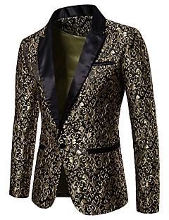 cheap Men's Outerwear-Men's Party / Club Luxury / Vintage Spring / Fall / Winter Regular Blazer, Floral Notch Lapel Long Sleeve Polyester Jacquard Gold / White / Black L / XL / XXL