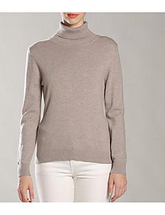 tanie Swetry damskie-Damskie Codzienny Moda miejska Solidne kolory Długi rękaw Regularny Pulower, Golf Żółtobrązowy M / L / XL