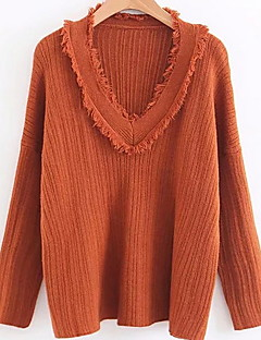 baratos Suéteres de Mulher-Mulheres Básico Pulôver - Sólido