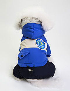 billiga Hundkläder-Hund Kappor Hundkläder Färgblock Grå / Röd / Blå Cotton / Blandat Material Kostym För husdjur Unisex Vindtät / Ledig / Sportig