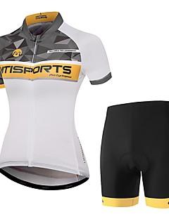 billige Sett med sykkeltrøyer og shorts/bukser-Kortermet Sykkeljersey med shorts - Oransje+Hvit Sykkel Fort Tørring Pledd / Tern / Elastisk
