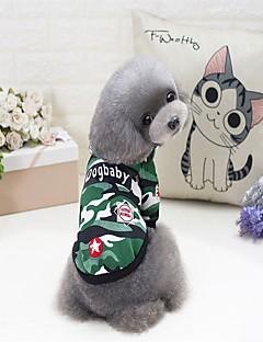 billiga Hundkläder-Hund Tröja Hundkläder Enfärgad / Färgblock / Bokstav & Nummer Grön / Blå Cotton Kostym För husdjur Herr / Dam Ledigt / vardag / Minimalistisk Stil
