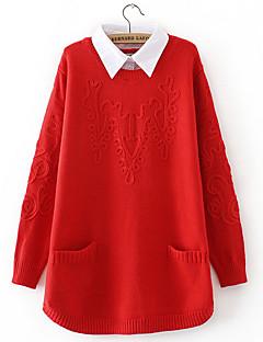 baratos Suéteres de Mulher-Mulheres Básico Pulôver - Sólido / Geométrica