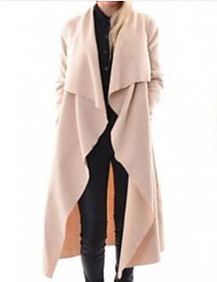 رخيصةأون معاطف و معاطف مطر نسائية-معطف طويل من القطن للمرأة الرياضية - بلون الخامس الرقبة الصلبة