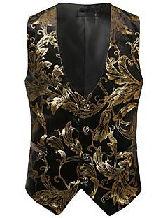 abordables Costumes & Blazers pour Homme-Homme Travail / Anniversaire Business / Rétro Printemps été / Automne hiver Normal gilet, Imprimé Col en V Sans Manches Coton / Spandex Imprimé Or / Argent L / XL / XXL / Vêtement décontracté