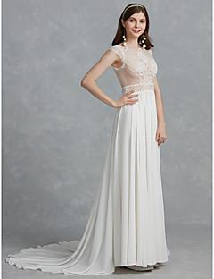 billiga Brudklänningar-A-linje Scoop Neck Svepsläp Chiffong / Tyll Bröllopsklänningar tillverkade med Bård / Spets av LAN TING BRIDE®