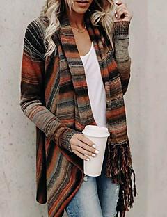 tanie Swetry damskie-Damskie Codzienny Moda miejska Frędzel / Pasek Prążki Długi rękaw Regularny Sweter rozpinany Jesień i zima Pomarańczowy / Szary / Jasnoszary M / L / XL
