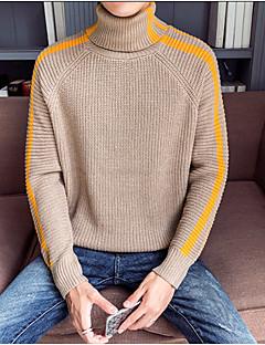 tanie Męskie swetry i swetry rozpinane-Męskie Codzienny Podstawowy Solidne kolory Długi rękaw Regularny Pulower, Półgolf Niebieski / Czarny / Żółtobrązowy L / XL / XXL