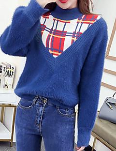 tanie Swetry damskie-Damskie Codzienny Kolorowy blok Długi rękaw Regularny Pulower Futro królika Niebieski / Biały Jeden rozmiar