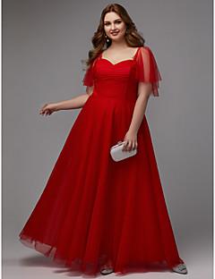billige Kjoler i plusstørrelse-A-linje Kjære Gulvlang Tyll Formell kveld Kjole med Plissert av TS Couture® / Skoleball