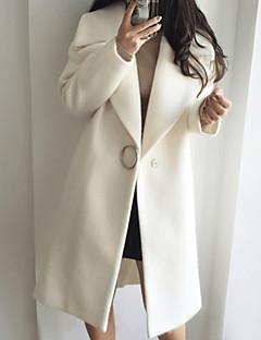 저렴한 여성 아웃웨어-여성용 일상 베이직 긴 트렌치 코트, 솔리드 접히고 젖혀짐 긴 소매 울 화이트 / 블러슁 핑크 L / XL / XXL