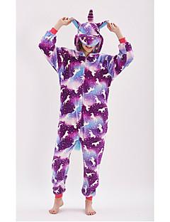 billige Kigurumi-Voksne Enhjørning Anime Onesie-pysjamas polyesterfiber Lilla Cosplay Til Damer og Herrer Pysjamas med dyremotiv Tegnefilm Festival / høytid kostymer