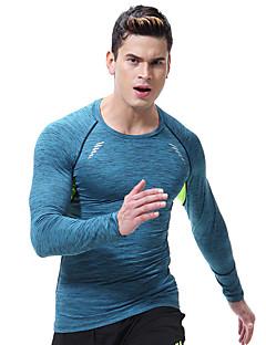 billiga Träning-, jogging- och yogakläder-Herr Rund hals T-shirt för jogging sporter Tryck underställ För Yoga, Löpning, Fitness Långärmad Sportkläder Andningsfunktion, Snabb tork, Kompression Hög Elasisitet Smal - Vit / Svart / Silver