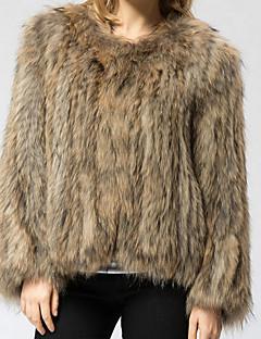 billiga Dampälsar och läder-Dam Dagligen Streetchic Plusstorlekar Normal Fur Coat, Enfärgad Rund hals Långärmad Fuskpäls / Polyester Gul XXXXL / XXXXXL / XXXXXXL