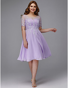 cheap Plus Size Dresses-A-Line Jewel Neck Knee Length Chiffon / Lace Cocktail Party Dress with Appliques by TS Couture®