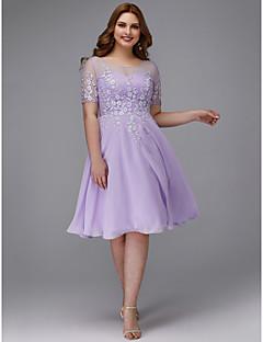 billige Kjoler i plusstørrelse-A-linje Besmykket Knelang Chiffon / Blonder Cocktailfest Kjole med Appliqué av TS Couture®