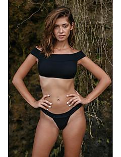 billige Bikinier og damemote 2017-Dame Grunnleggende Bikini - Åpen rygg, Cheeky Ensfarget / Stripet