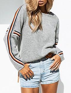 baratos Suéteres de Mulher-Mulheres Para Noite Estampa Colorida Manga Longa Solto Padrão Pulôver Cinzento M / L / XL