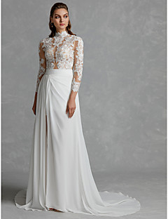 billiga Brudklänningar-A-linje Hög hals Hovsläp Chiffong / Spets Bröllopsklänningar tillverkade med Delad framsida av LAN TING BRIDE® / Genomskinliga