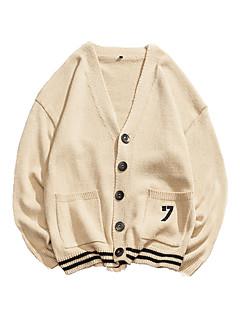 baratos Suéteres & Cardigans Masculinos-cardigan de manga comprida masculina - colorido sólido