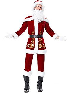billige julen Kostymer-Cosplay Kostumer Santa Clothe Herre Tenåring Voksne Jul Jul Nytt År Festival / høytid Terylene Drakter Rød Ferie