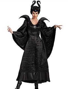 billige Halloweenkostymer-Maleficent Cosplay Kostumer Dame Halloween Karneval Festival / høytid Drakter Svart Helfarge