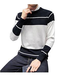 baratos Suéteres & Cardigans Masculinos-Homens Diário Básico Sólido Manga Longa Delgado Padrão Pulôver Verde / Preto / Cinzento XL / XXL / XXXL