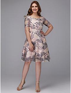 billige Mønstrede og ensfargede kjoler-A-linje Besmykket Knelang Blonder Kjole med Broderi / Blonder av TS Couture® / Cocktailfest