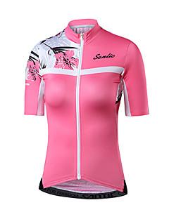 billige Sykkelklær-SANTIC Dame Short Pant Sykkeljersey - Rosa Reaktivt Trykk Sykkel Jersey Elastan Terylene / Elastisk