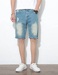 billige Herrebukser og -shorts-Herre Grunnleggende Bomull Jeans / Shorts Bukser - Ensfarget Hull Lyseblå / Sommer