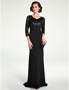 3bd70d982a12 Sheath / Column V Neck Floor Length Sequined / Knit Mother of the Bride  Dress with Sequin by LAN TING BRIDE®