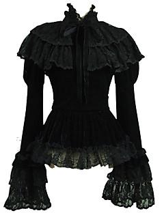 billiga Lolitaklänningar-Söt Lolita Casual Lolita Klänning Traditionellt / Vintage Söt Lolita Spets Dam Blus / Skjorta Cosplay Svart Flamma Ärm Långärmad Kostymer
