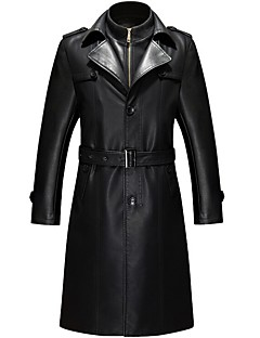 cheap England Retro Style-Men's Work / Party / Cocktail Punk & Gothic / Military Winter Plus Size Long Leather Jacket, Solid Colored Fantastic Beasts Stand Long Sleeve Faux Fur / PU Patchwork Black XXXL / 4XL / XXXXXL