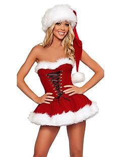 billige julen Kostymer-Kjoler Cosplay Kostumer Santa Clothe Unisex Tenåring Voksne Jul Jul Nytt År Festival / høytid Terylene Drakter Rød Ferie