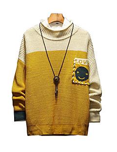 tanie Męskie swetry i swetry rozpinane-Męskie Codzienny Moda miejska Kolorowy blok Długi rękaw Luźna Regularny Pulower Zielony / Żółty XXXL / 4XL / XXXXXL
