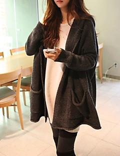 tanie Swetry damskie-Damskie Codzienny Moda miejska Solidne kolory Długi rękaw Luźna Długie Sweter rozpinany, Kaptur Ciemnoszary Jeden rozmiar