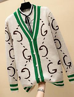 tanie Swetry damskie-Damskie Wyjściowe Kolorowy blok / Litera Długi rękaw Szczupła Regularny Sweter rozpinany Czerwony / Beżowy / Khaki Jeden rozmiar