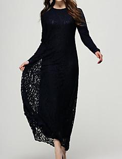 billige Vintage-dronning-Dame Vintage Skede Kjole - Ensfarvet Maxi
