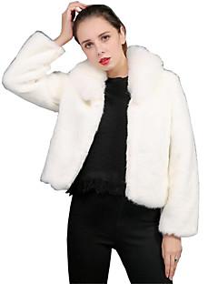 billiga Dampälsar och läder-Dam Dagligen / Fest / cocktail Sexig / Sofistikerat Vinter Normal Fur Coat, Enfärgad Nedvikt Långärmad Fuskpäls / PU / Rävpäls Plisserad / Lappverk Vit / Svart XL / XXL / XXXL / Smal