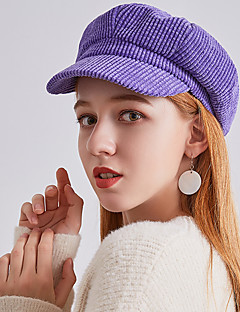 billige Hatter til damer-Dame Vintage / Fest Beret / Bowlerhatter / Sixpence Ensfarget