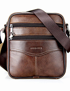 cheap -Men's Bags Cowhide Crossbody Bag Zipper Black / Coffee