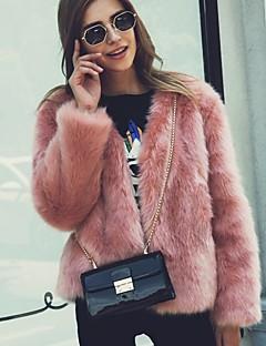 billiga Dampälsar och läder-Dam Dagligen Grundläggande Normal Fur Coat, Enfärgad Kraglös Långärmad Fuskpäls Vit / Svart / Rodnande Rosa XL / XXL / XXXL